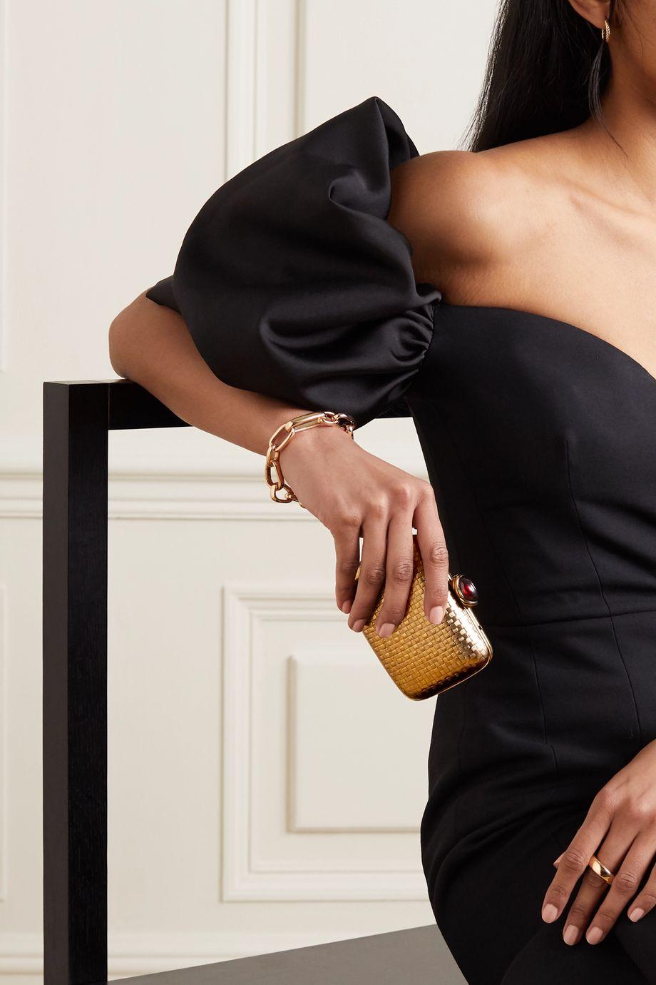 Alexander McQueen Pochette en métal doré et en grenat Mini