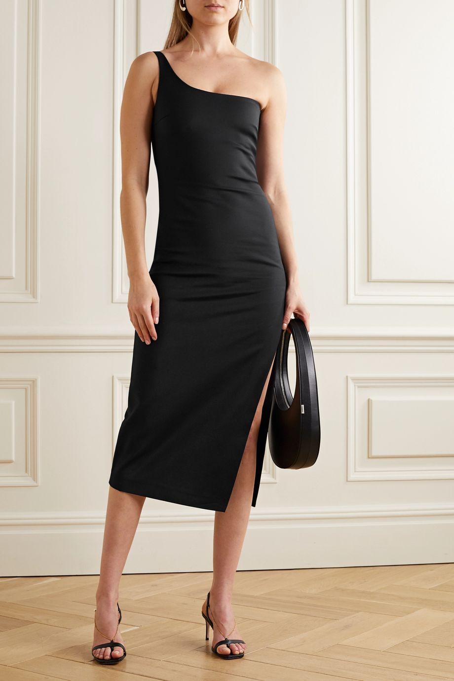 Coperni One-shoulder stretch cotton-blend cady midi dress