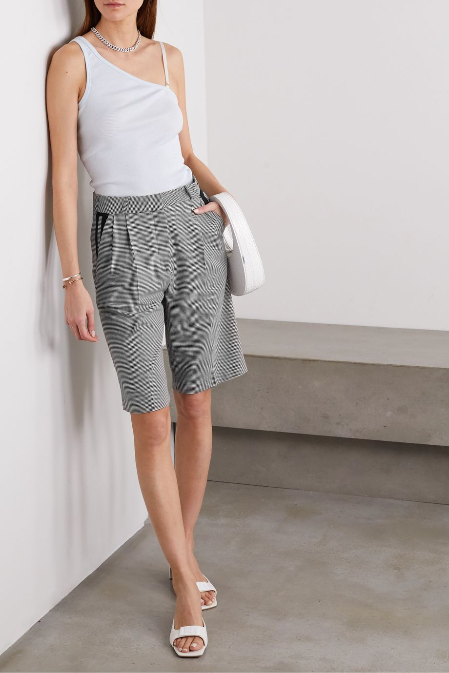 Coperni Houndstooth cotton shorts