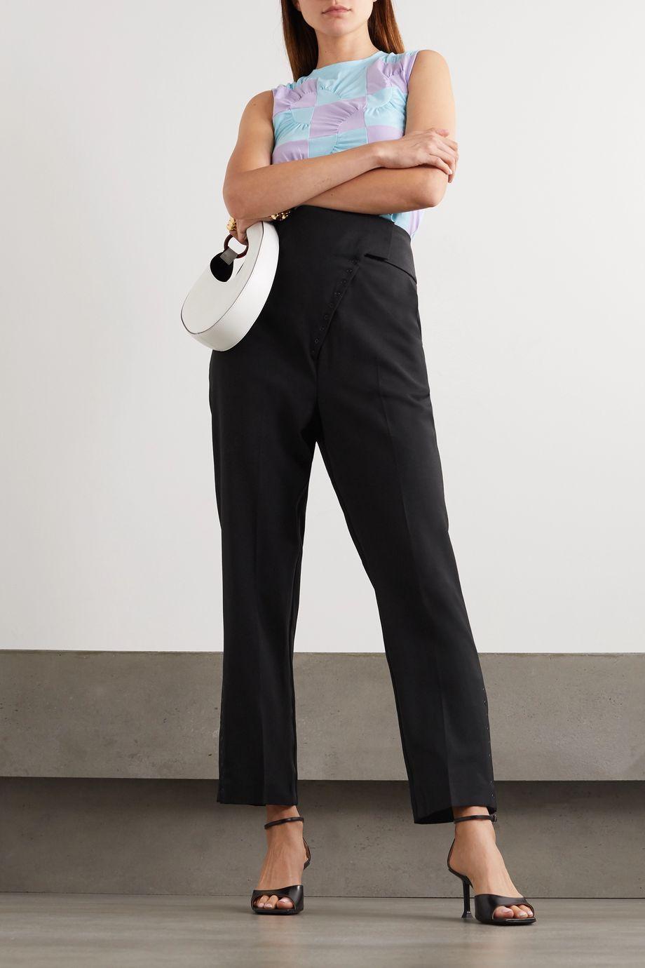Coperni Capri satin-trimmed wool slim-leg pants
