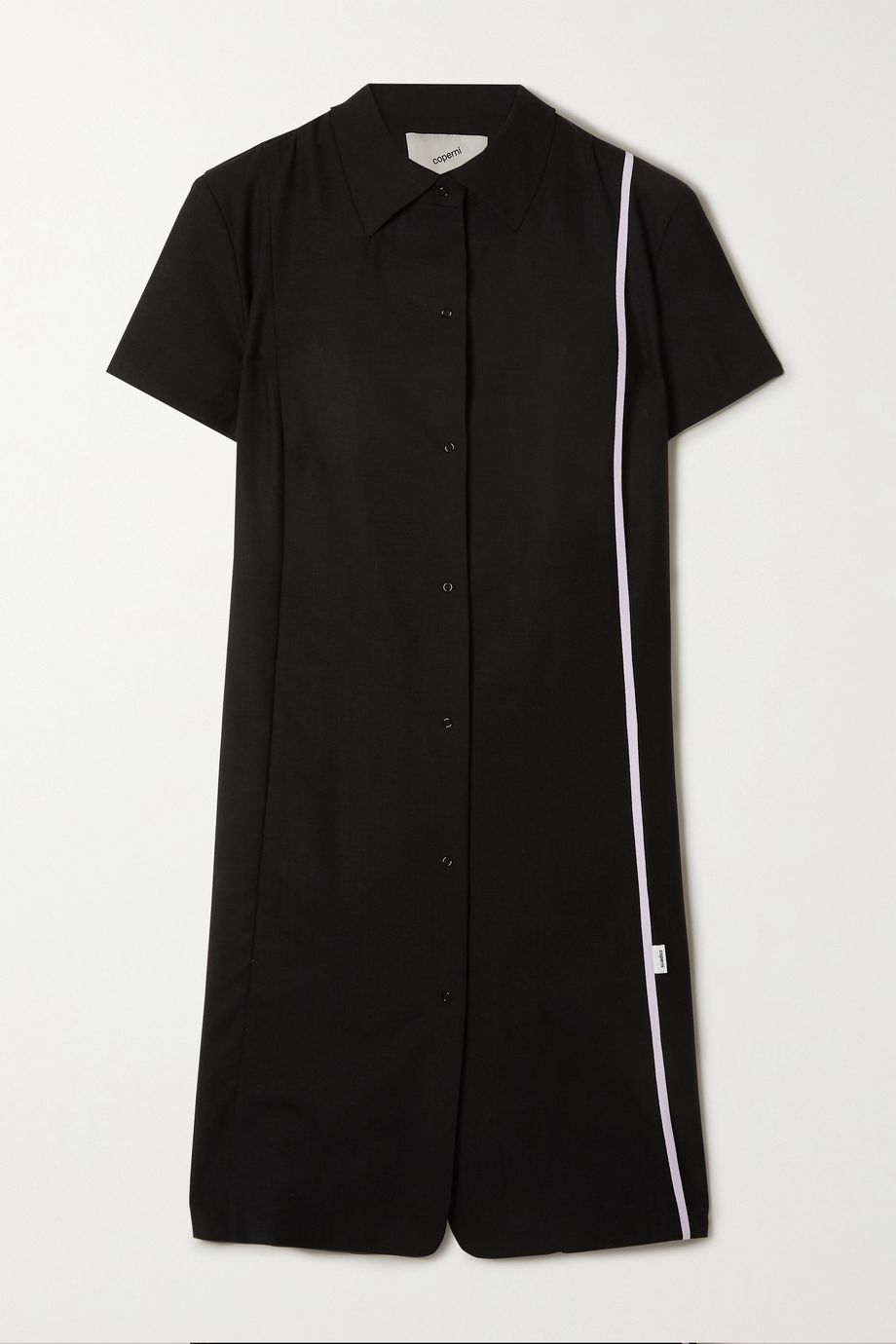 Coperni Striped wool-crepe shirt dress