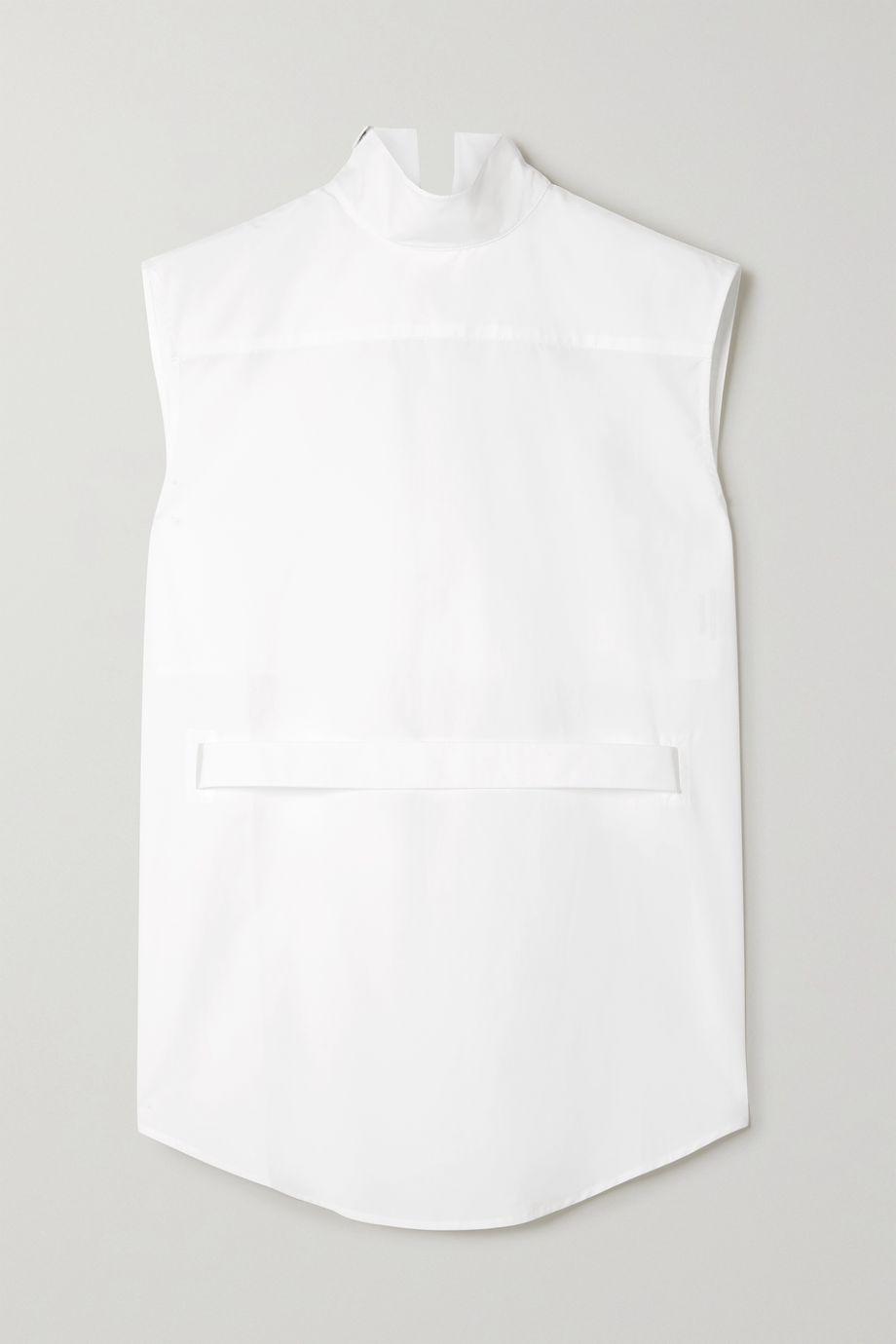 Coperni Asymmetric belted cutout cotton-poplin shirt