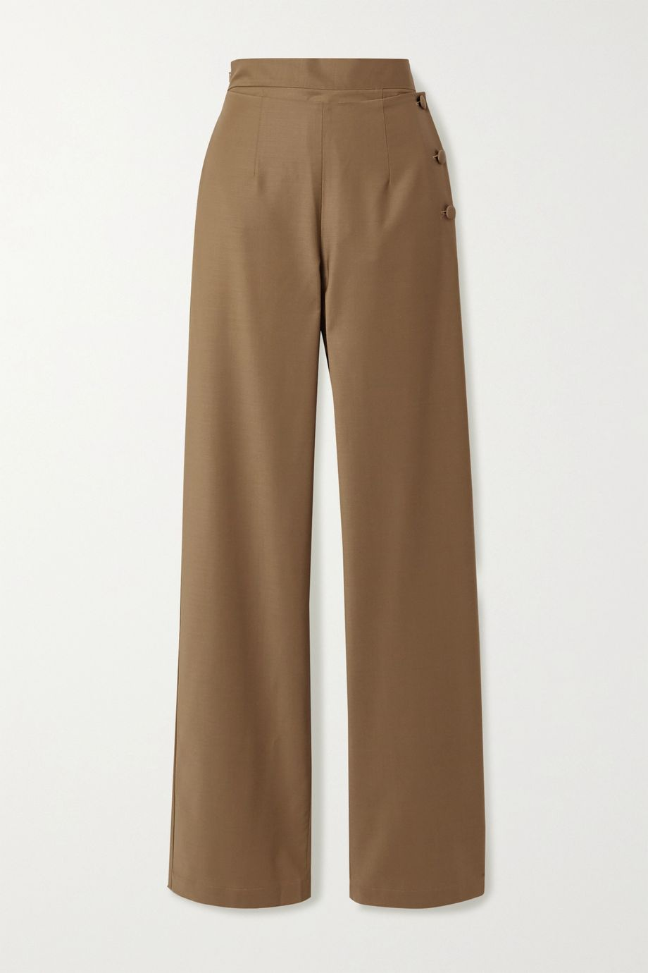 MATERIEL Fold-over stretch wool-blend wide-leg pants
