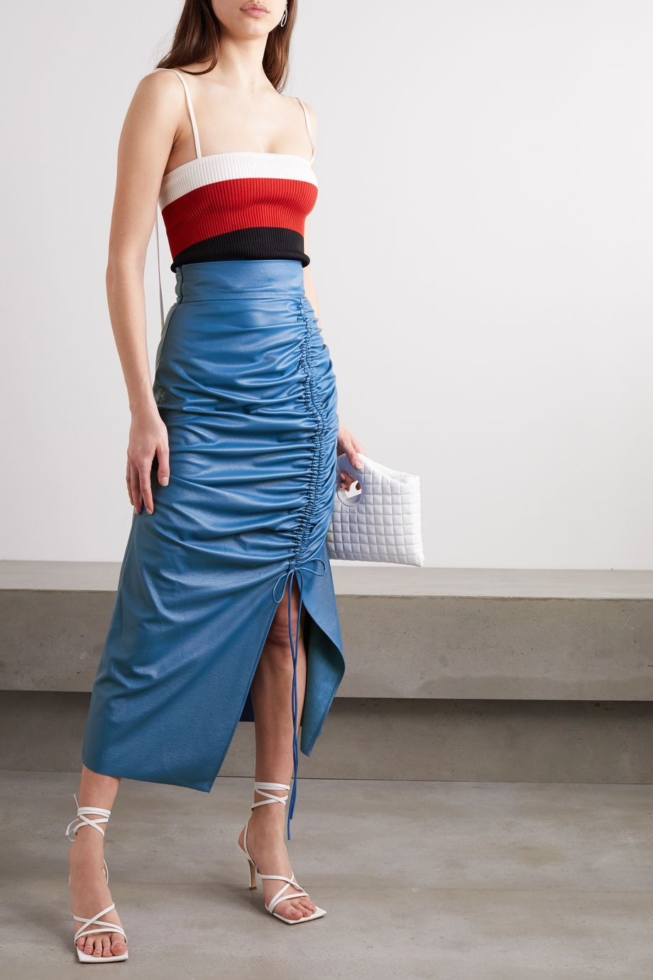 MATERIEL Ruched faux leather midi skirt