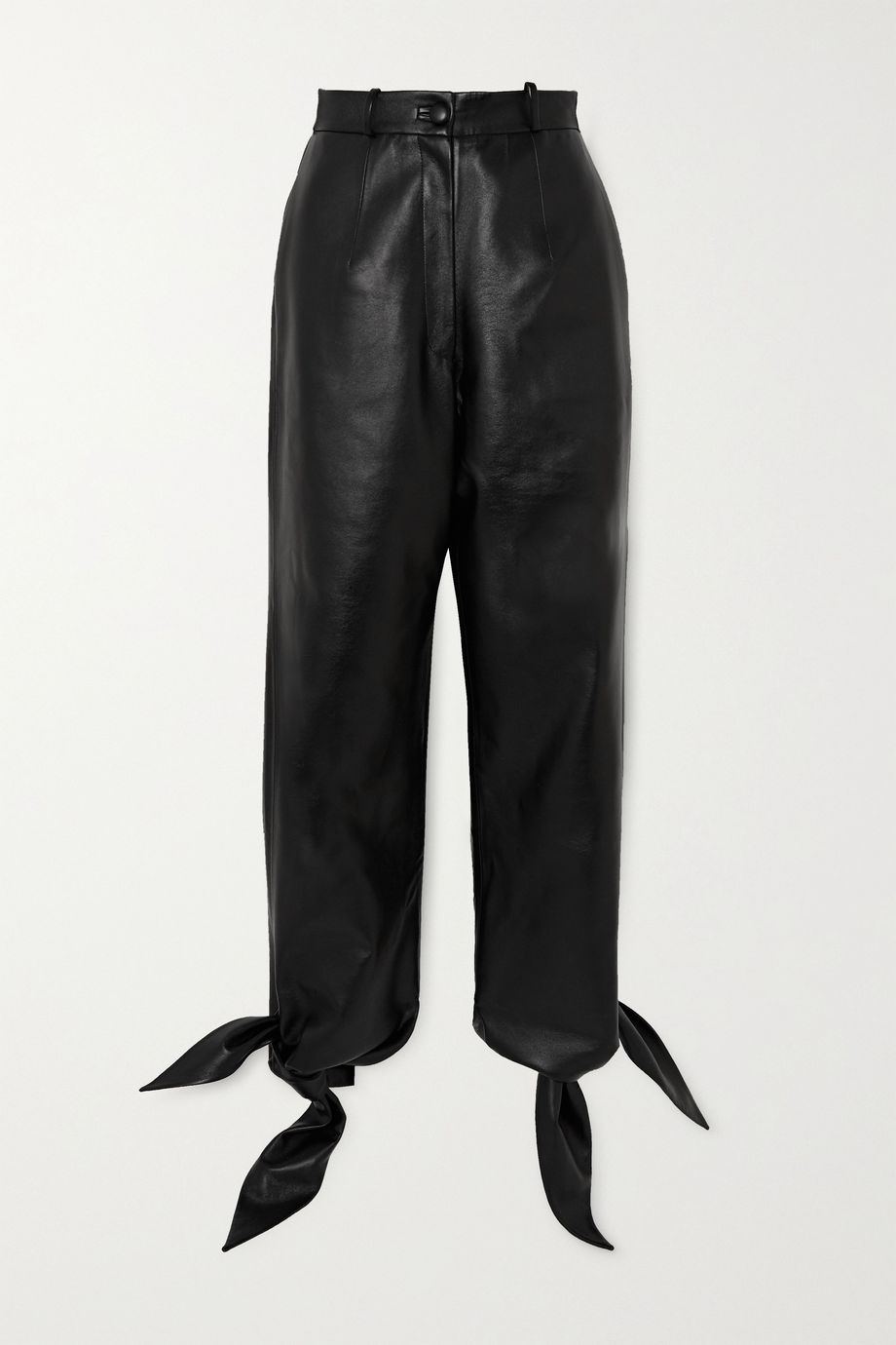 MATERIEL Knotted faux leather tapered pants