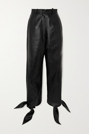Knotted faux leather tapered pants