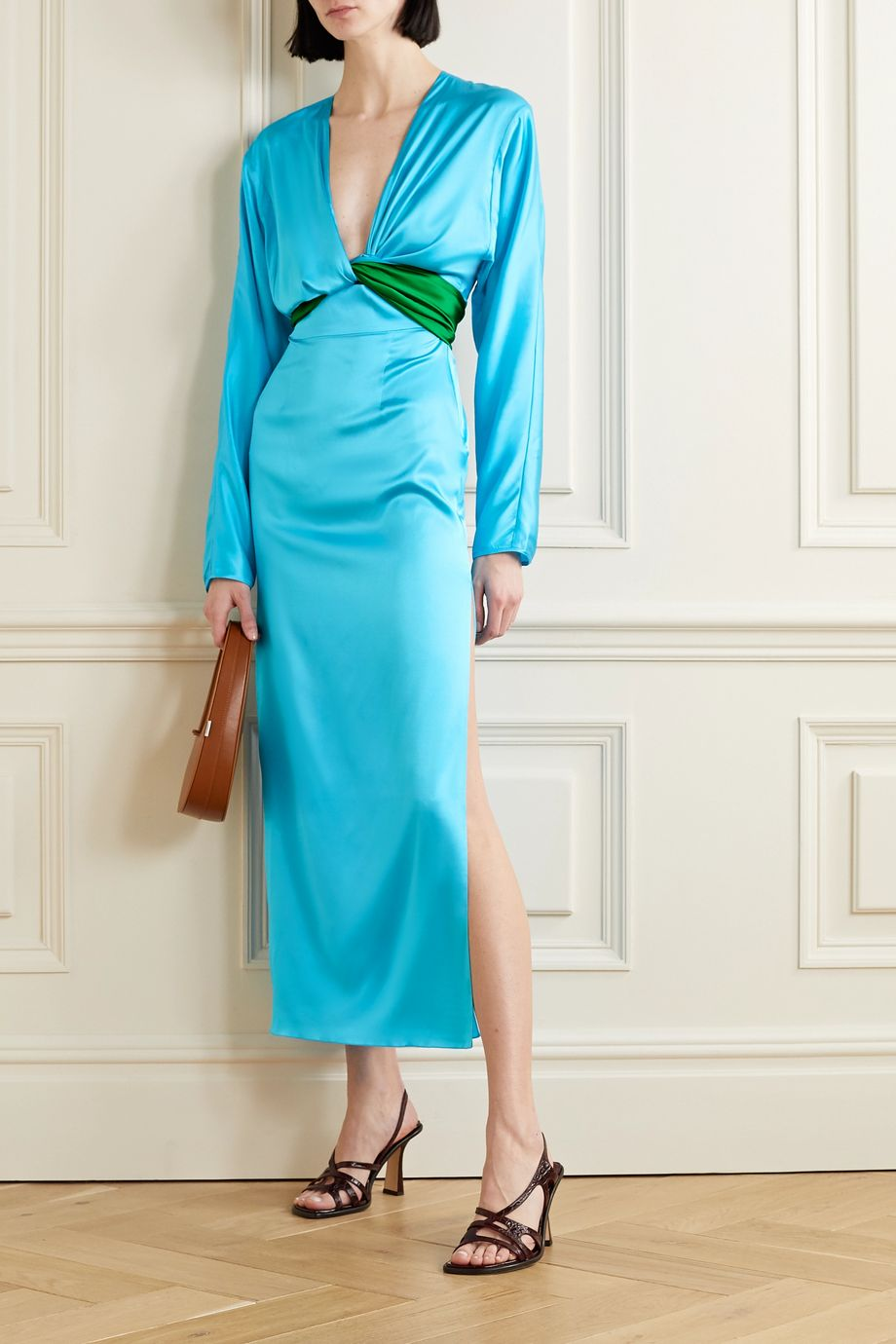 MATERIEL Wrap-effect two-tone silk-blend satin midi dress