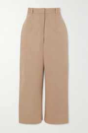 Button-detailed cotton-twill straight-leg pants