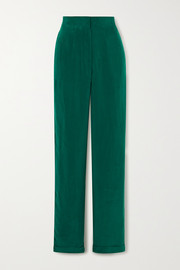 Cupro straight-leg pants