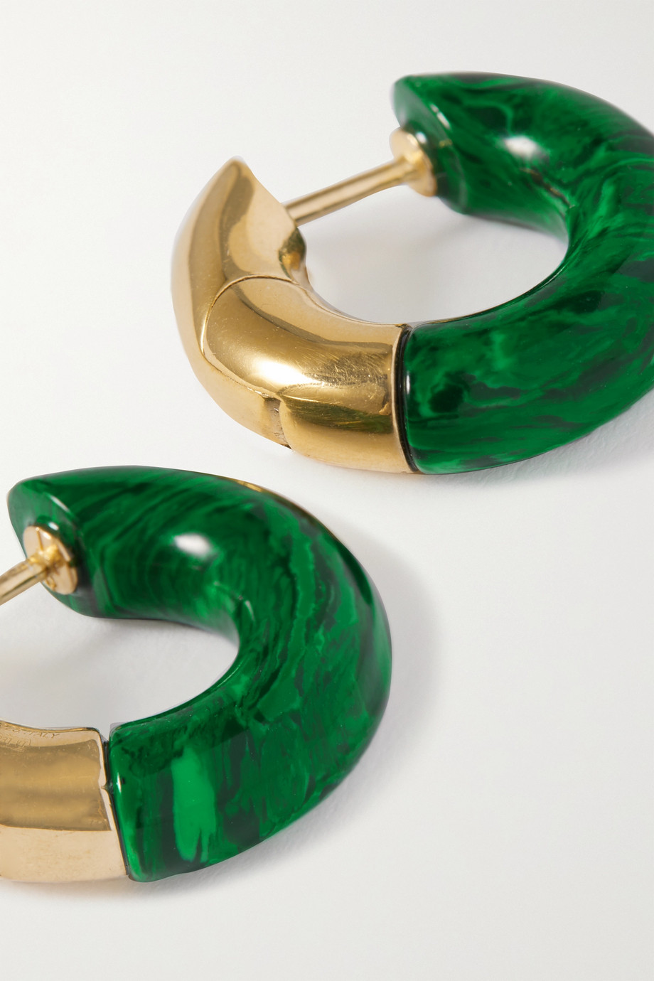 Bottega Veneta Gold-tone malachite hoop earrings