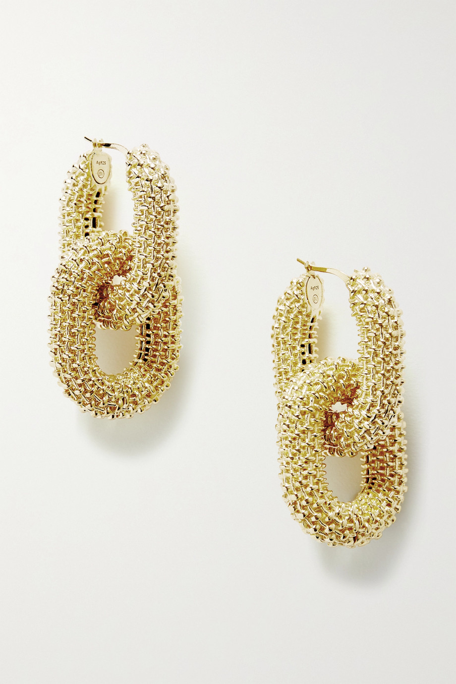 Bottega Veneta Textured gold-tone earrings