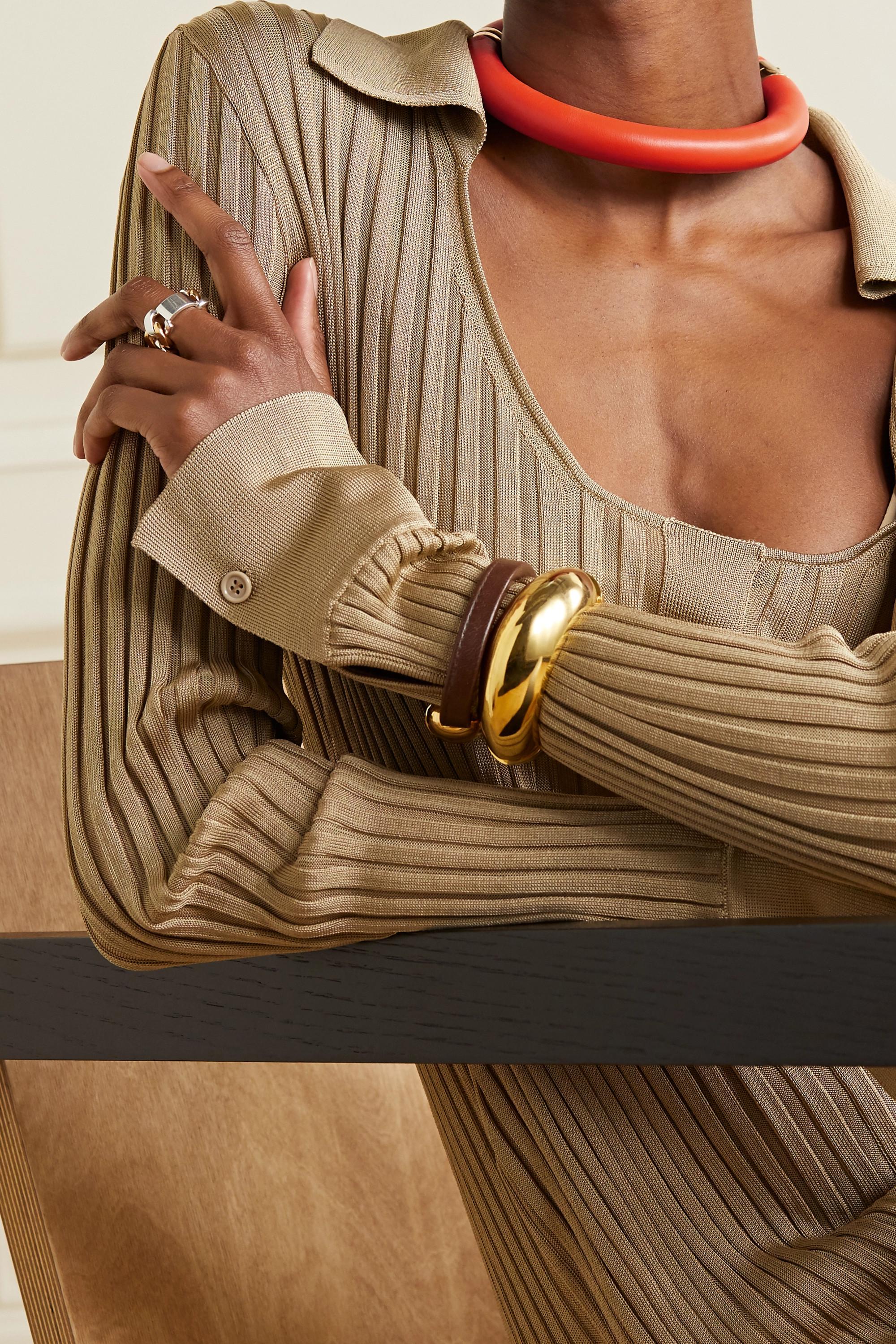Bottega Veneta Tour de cou en cuir et métal doré