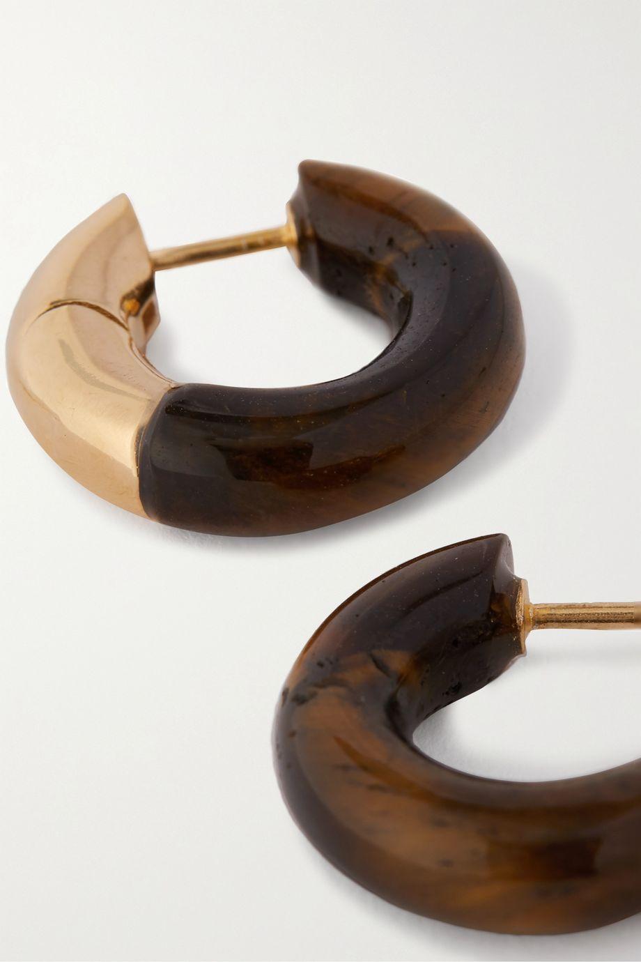 Bottega Veneta Gold-tone tiger's eye hoop earrings