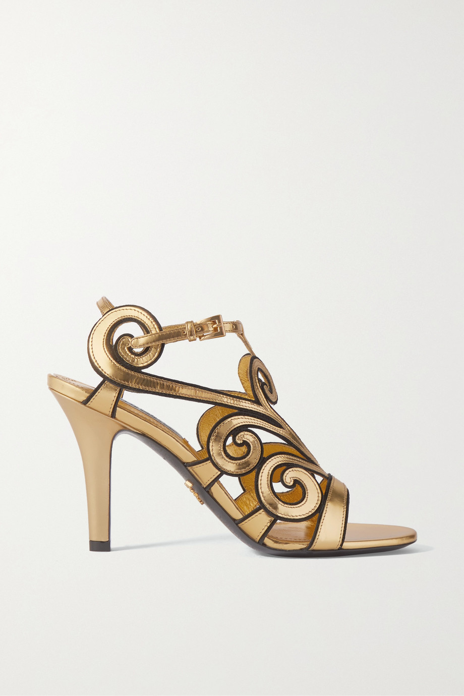 Prada Metallic leather and suede sandals