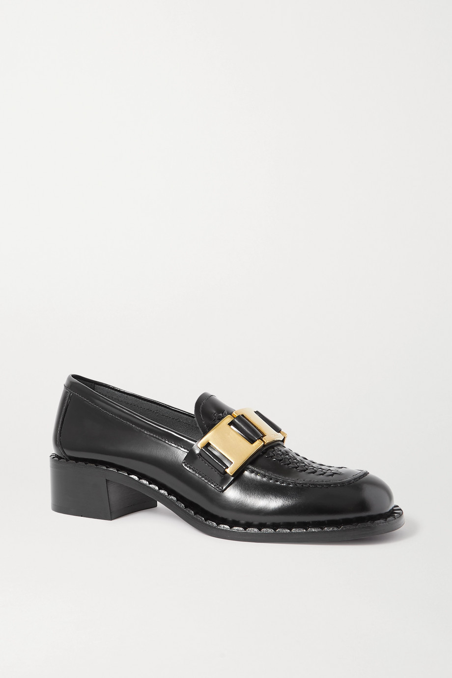 Prada 40 embellished woven glossed-leather loafers
