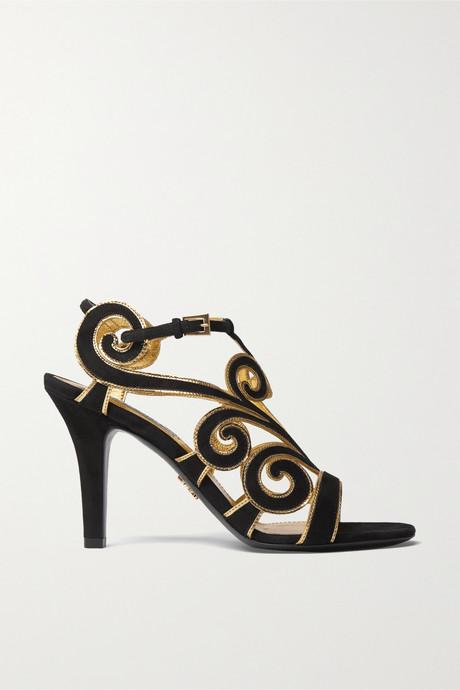 Black Suede and metallic leather sandals | Prada DsbDZ9