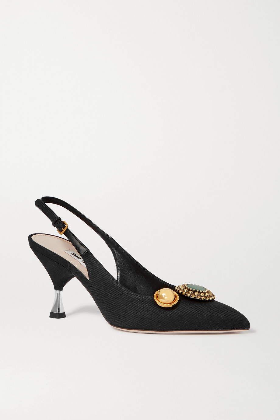 Miu Miu Embellished grosgrain and leather slingback pumps