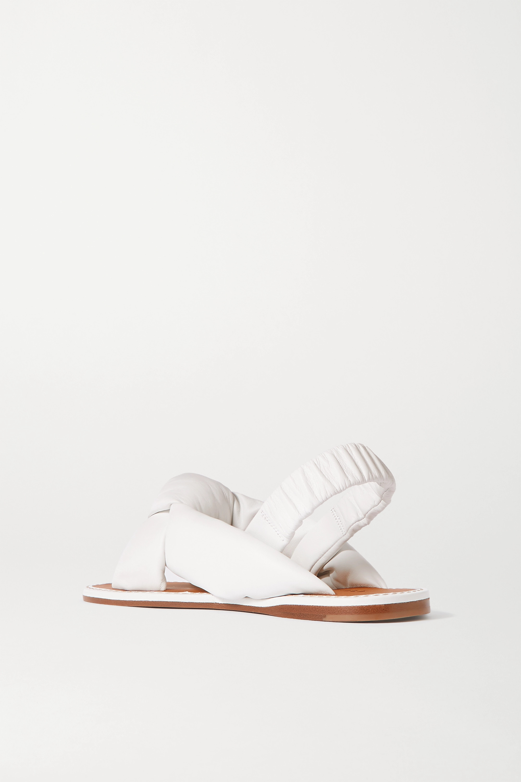 White Knotted Leather Sandals | Miu