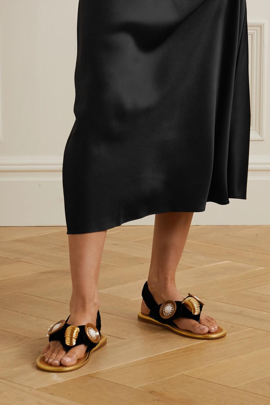 Miu Miu Embellished velvet slingback sandals