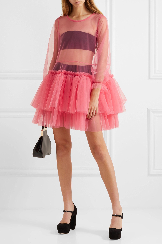 Molly Goddard Tiered tulle mini dress
