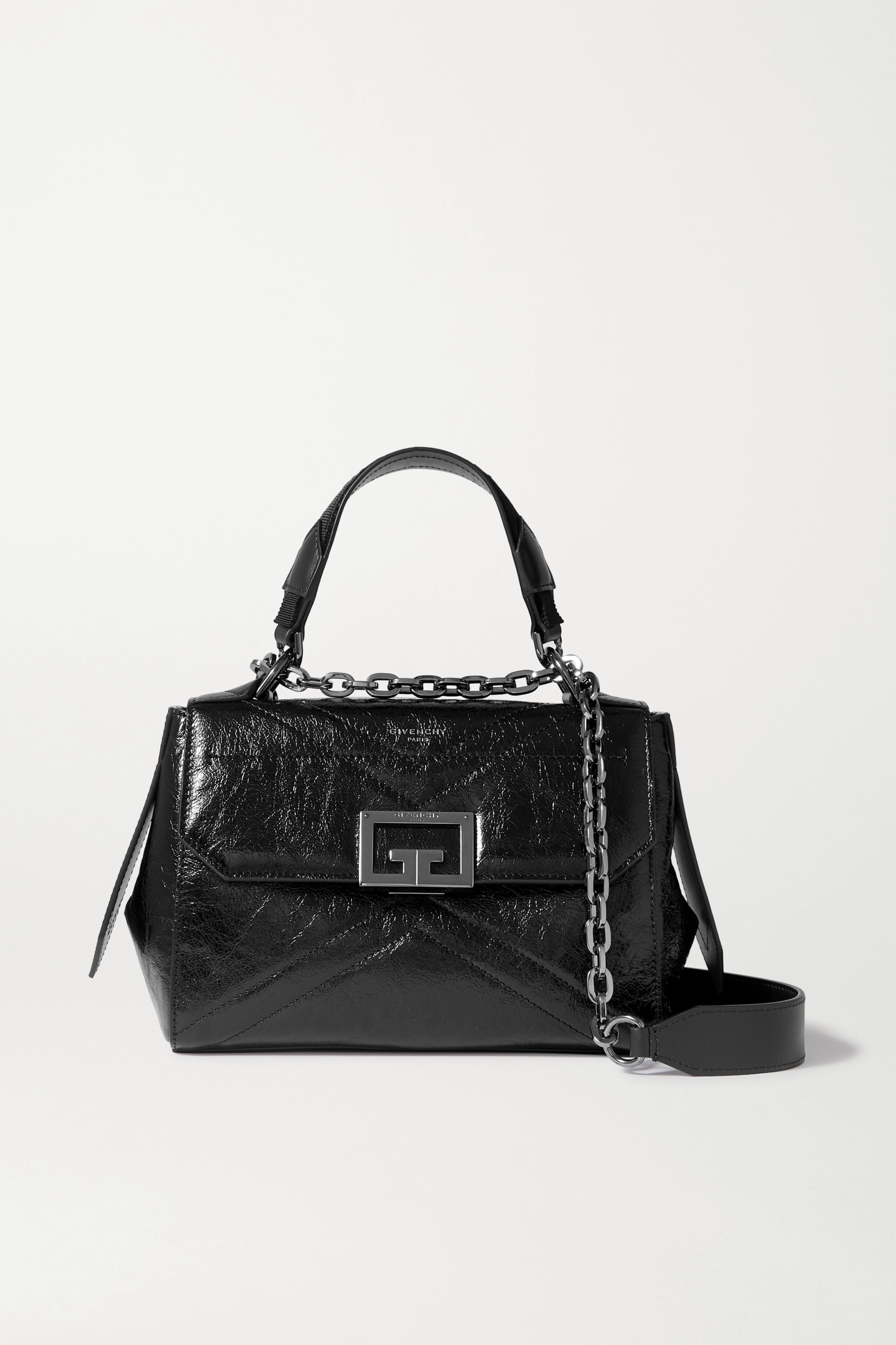 Givenchy ID small glossed textured-leather tote