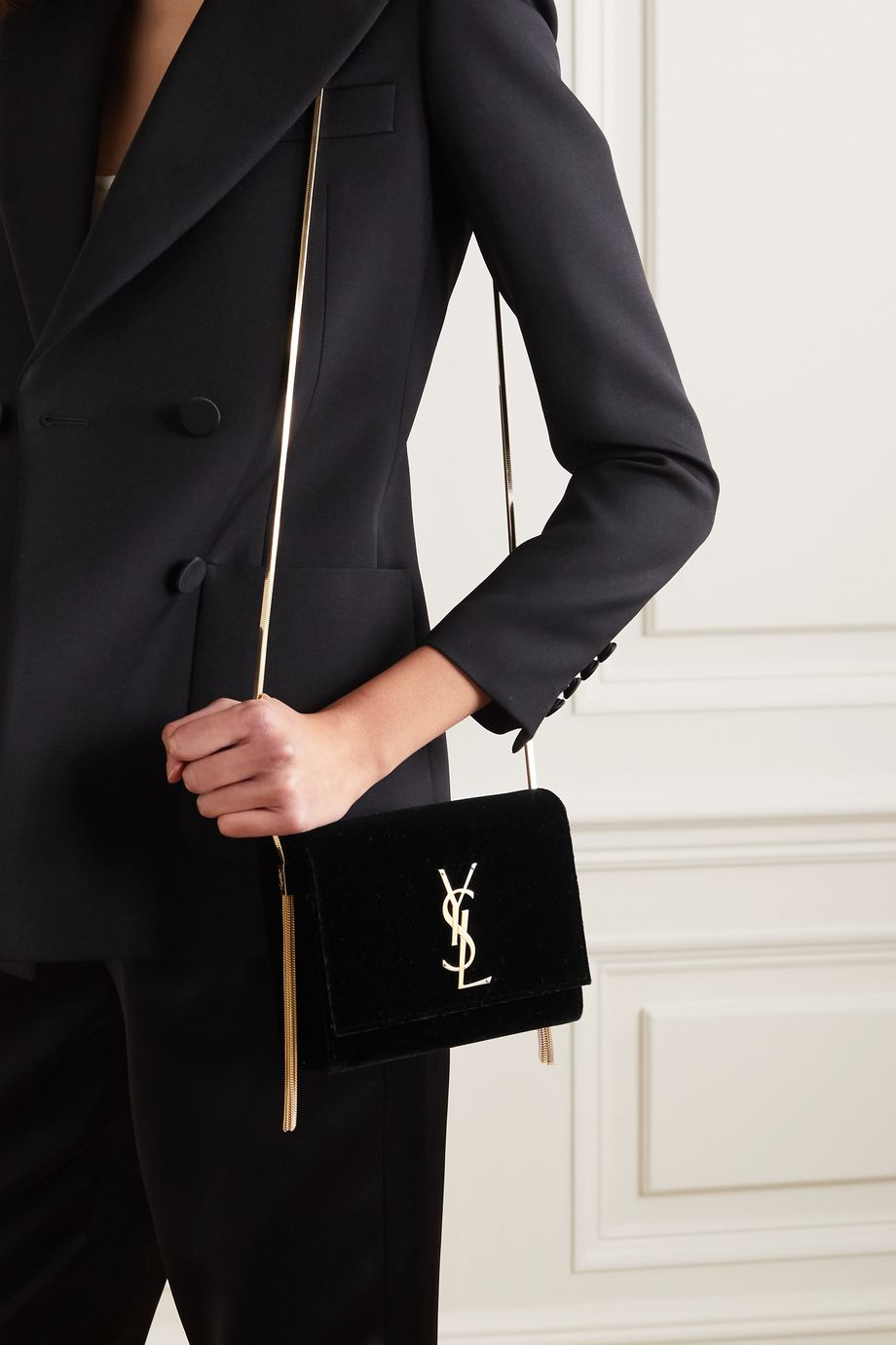 SAINT LAURENT Box velvet shoulder bag