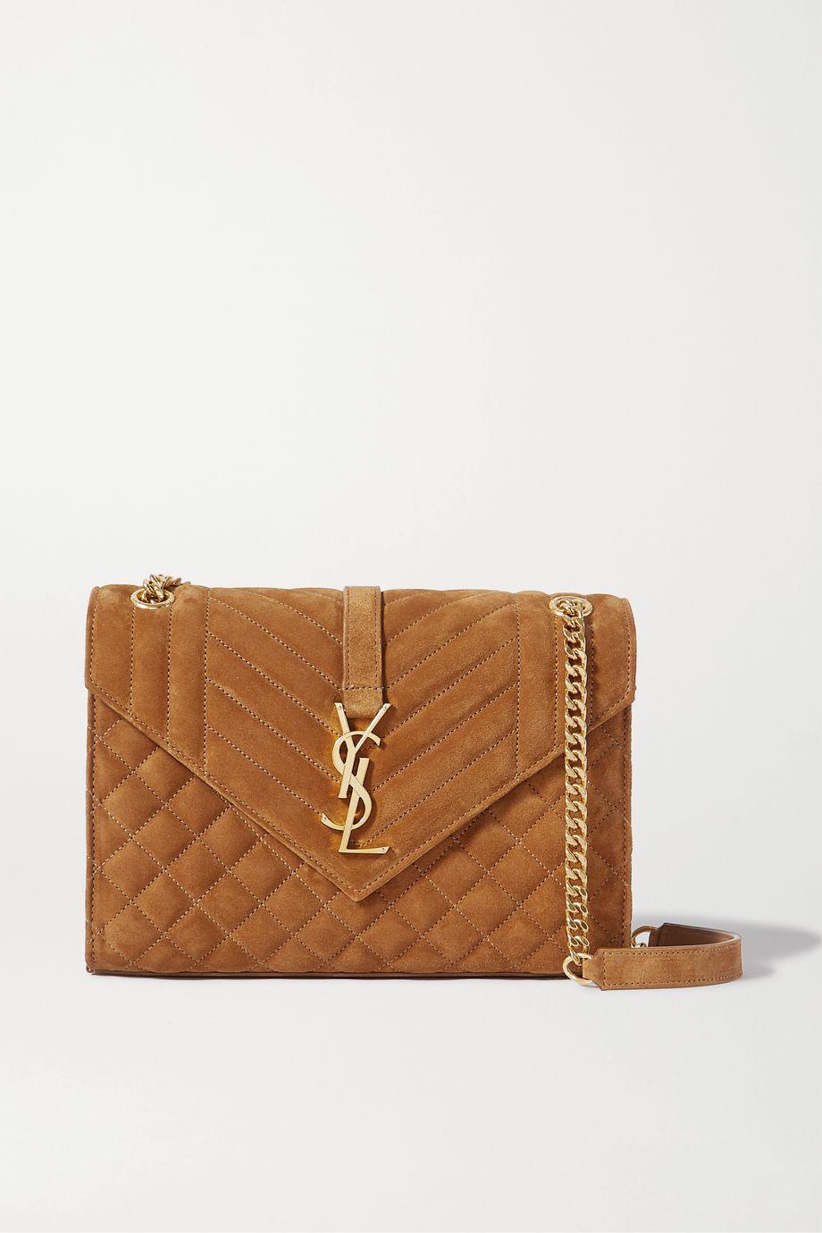 SAINT LAURENT Envelope medium quilted suede shoulder bag