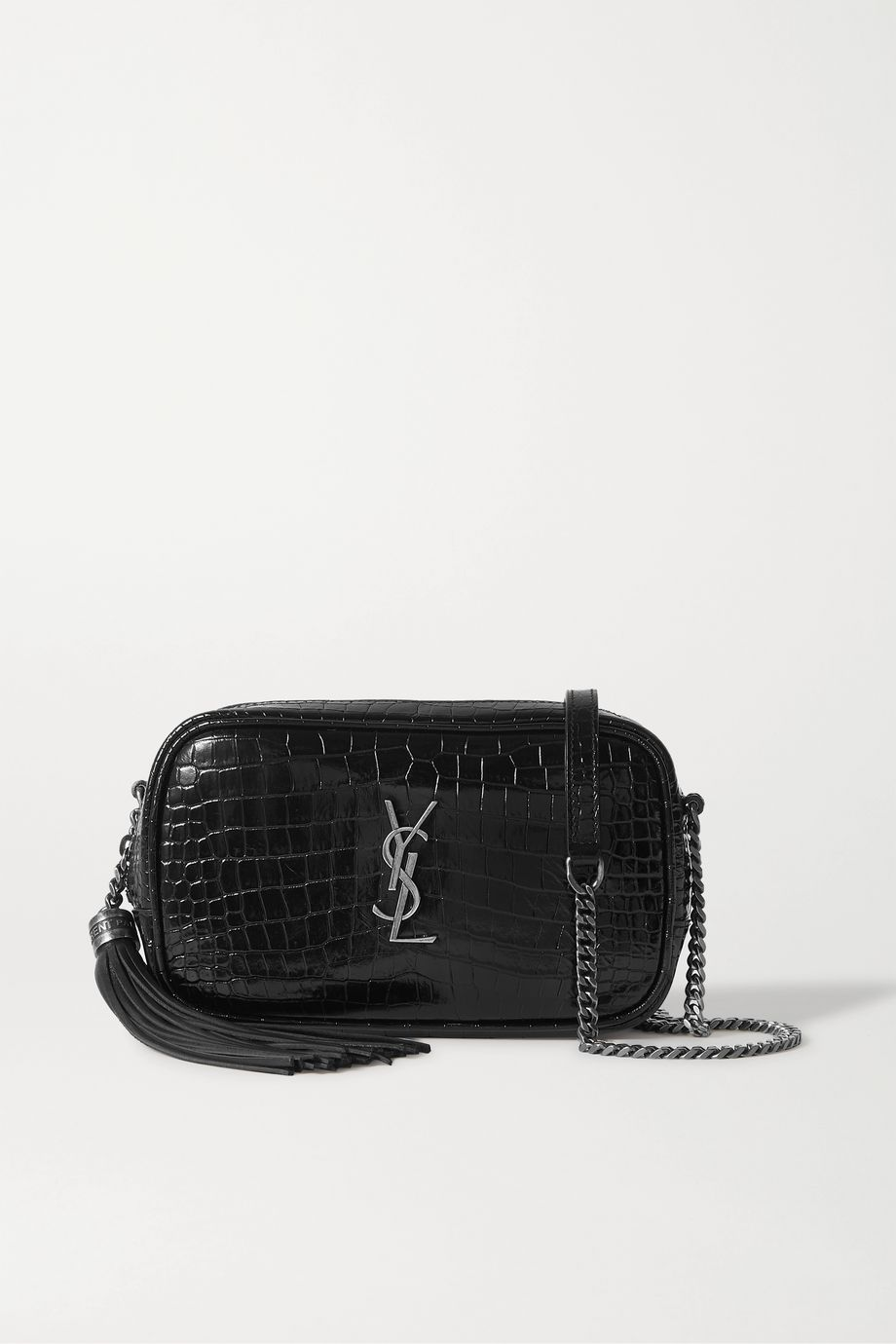 SAINT LAURENT Lou mini croc-effect leather shoulder bag