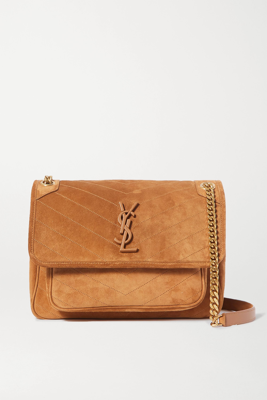 SAINT LAURENT Niki medium quilted suede shoulder bag