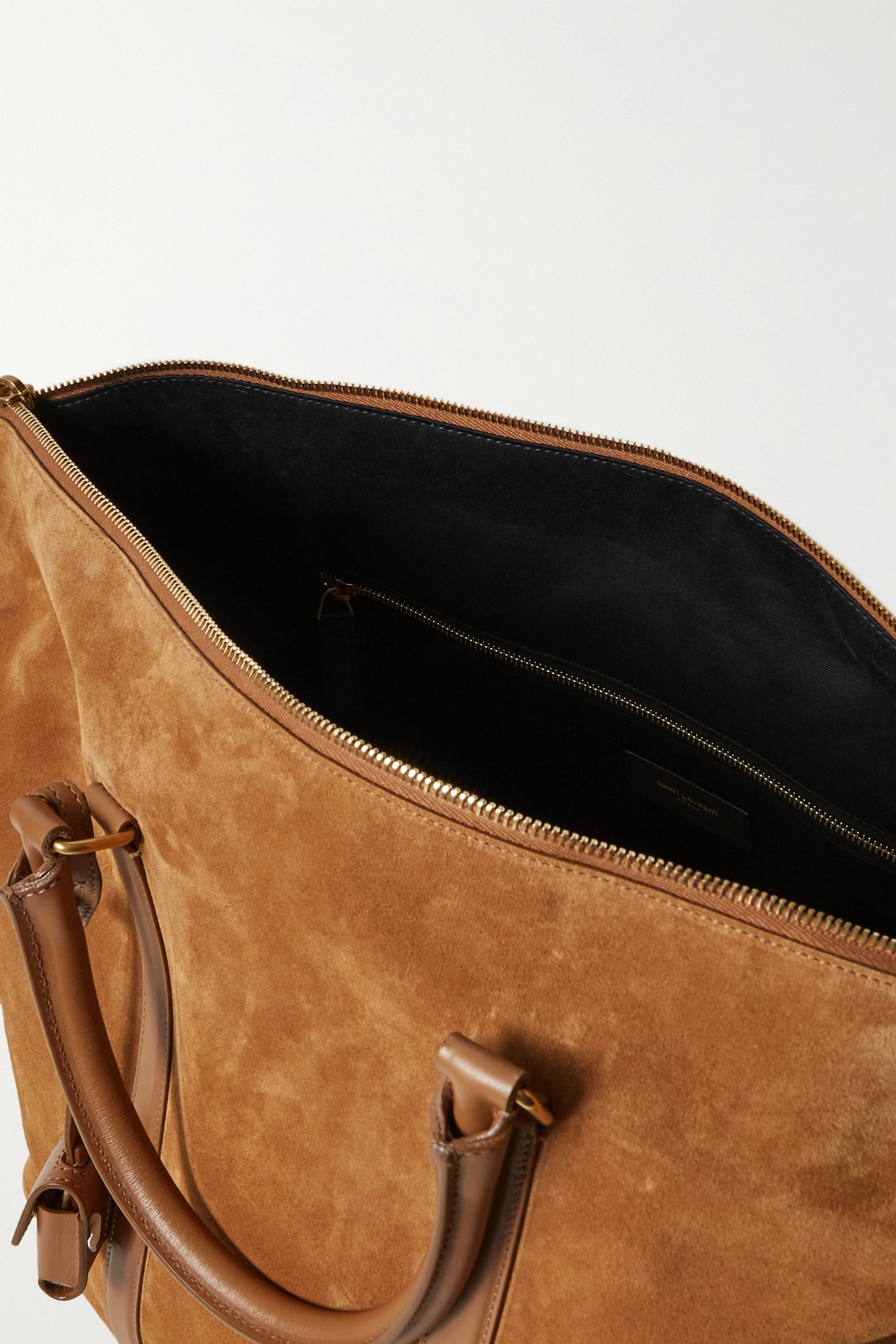 SAINT LAURENT Camden leather-trimmed suede tote
