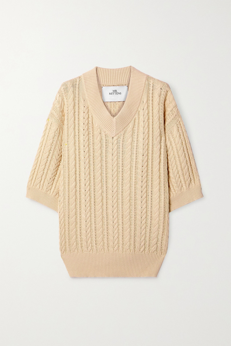 I Love Mr Mittens Cable-knit cotton sweater