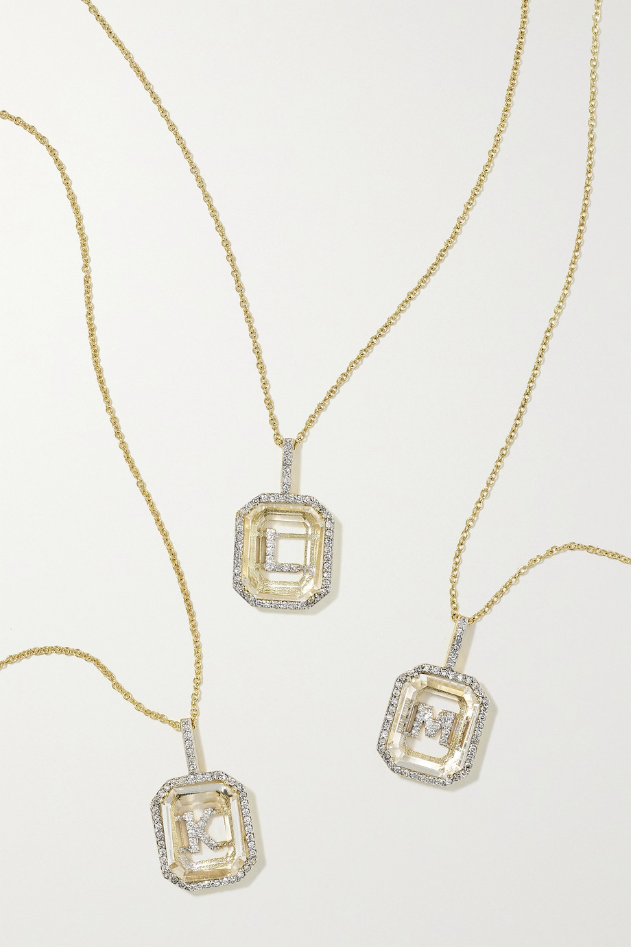 Mateo Initial 14-karat gold, quartz and diamond necklace