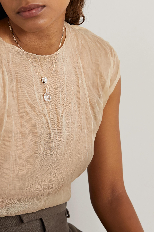 Mateo Initial 14-karat gold, quartz and diamond necklace