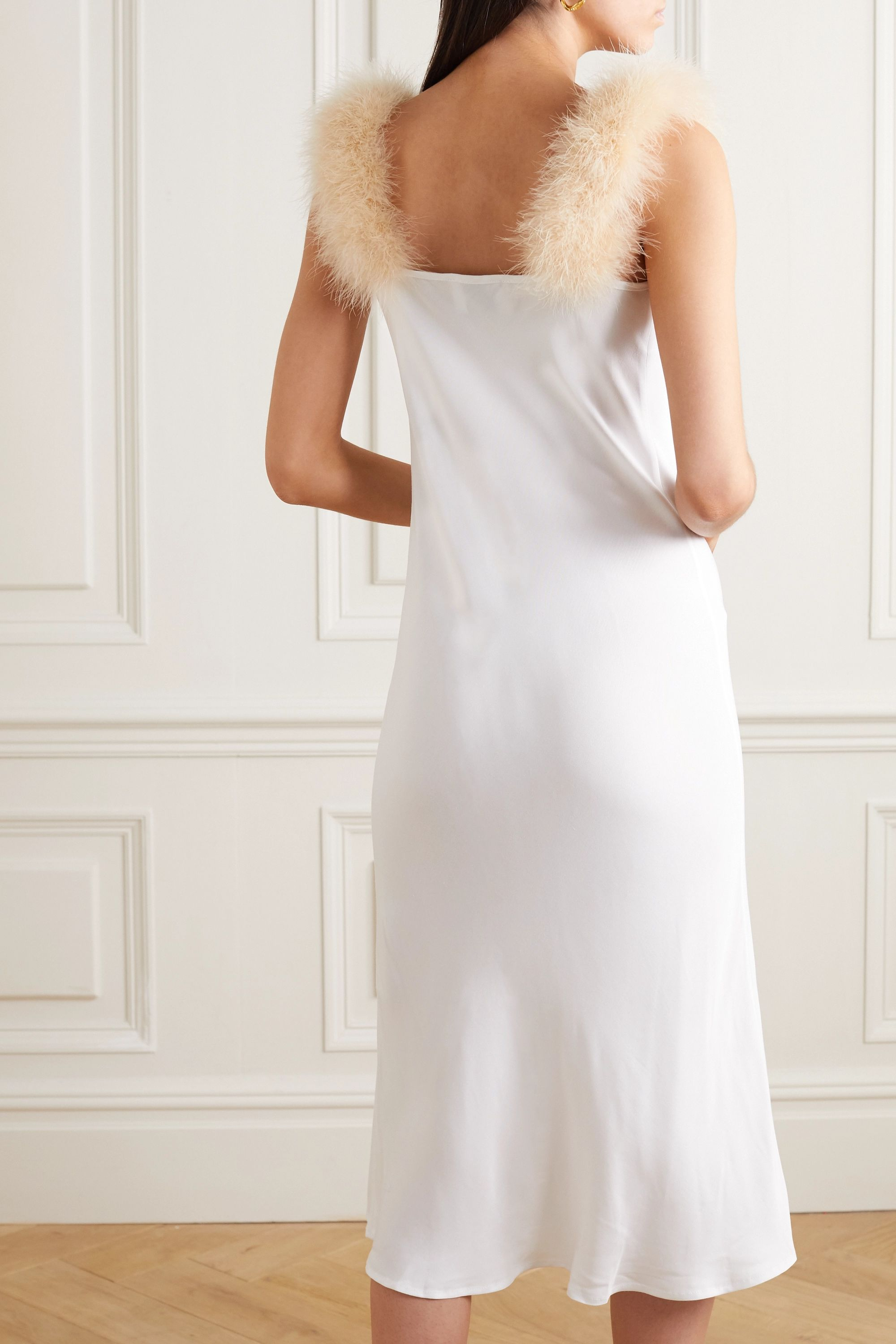 Sleeper Feather-trimmed draped voile midi dress