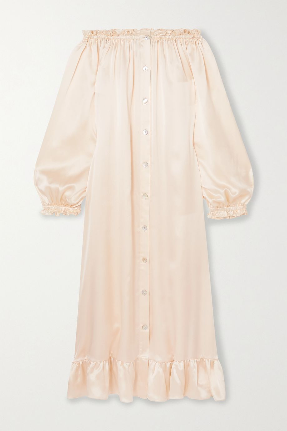 Sleeper Love Me Tender off-the-shoulder ruffled silk-satin midi dress