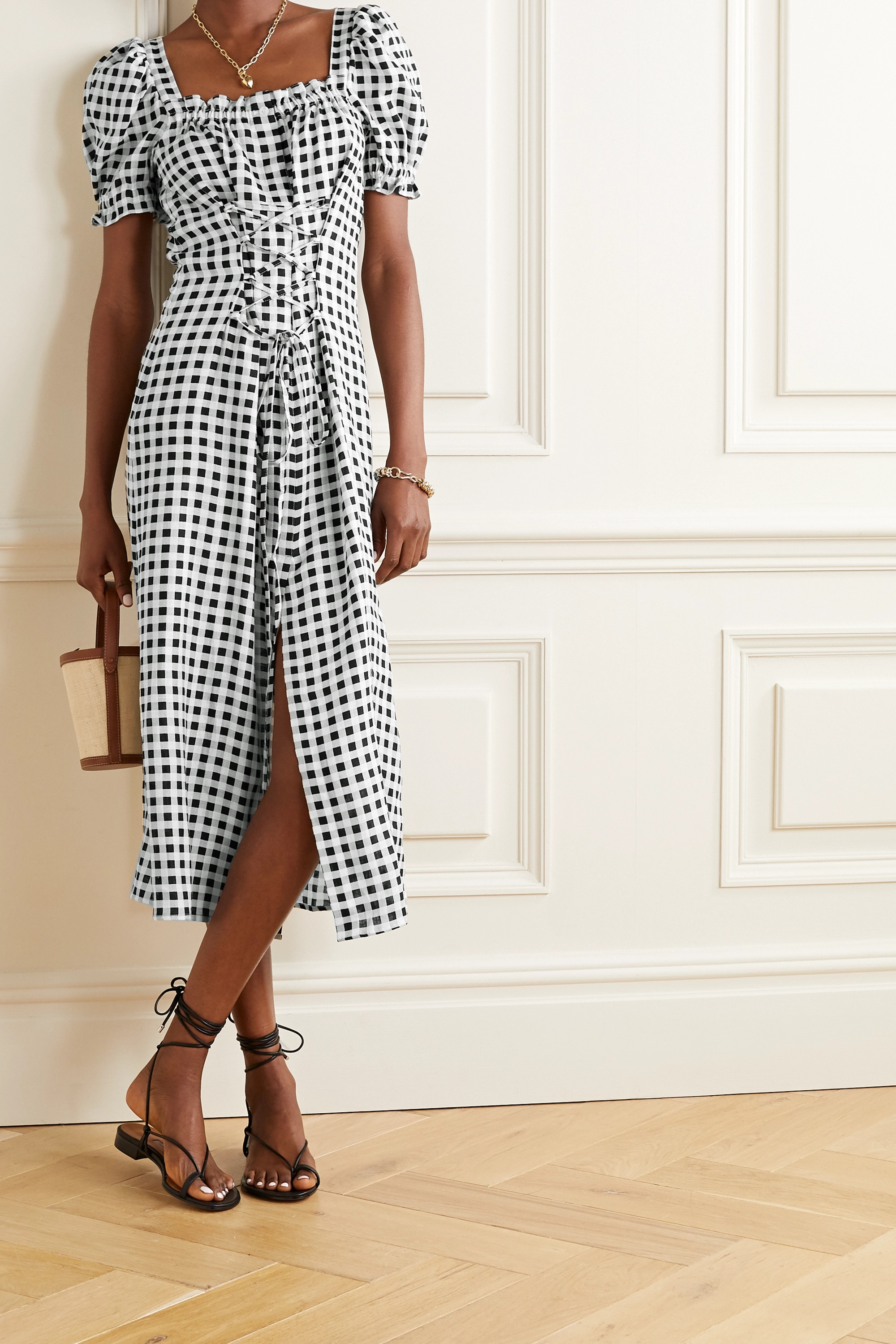 Sleeper Marquise lace-up gingham linen midi dress