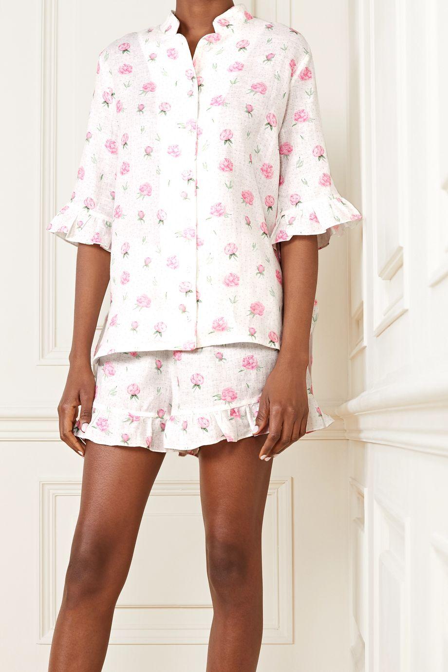 Sleeper Pyjama aus Leinen mit Blumenprint