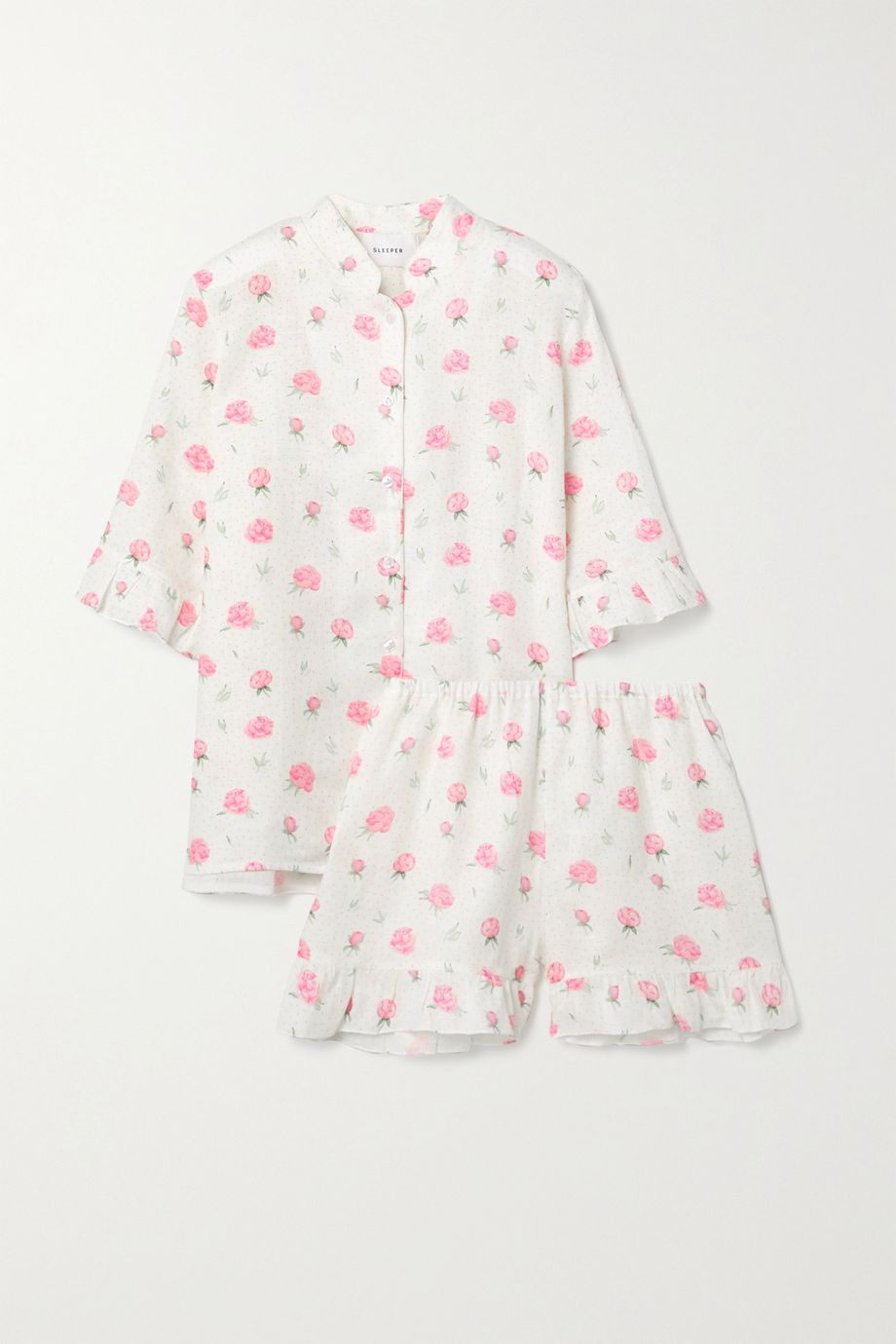 Sleeper 花卉印花亚麻睡衣套装