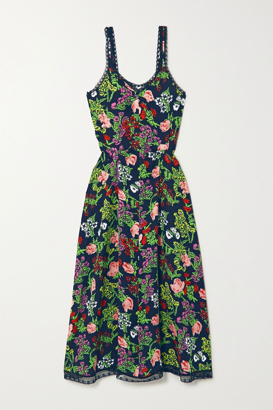 Molly Goddard Romy lace-trimmed floral-print woven midi dress