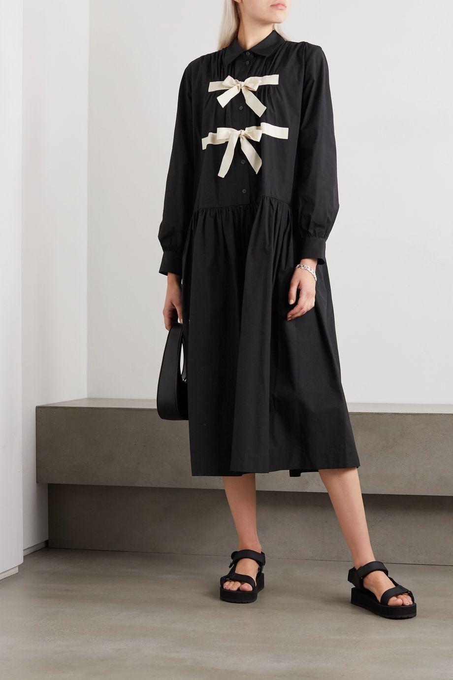 Molly Goddard Amber grosgrain-trimmed cotton-poplin midi dress