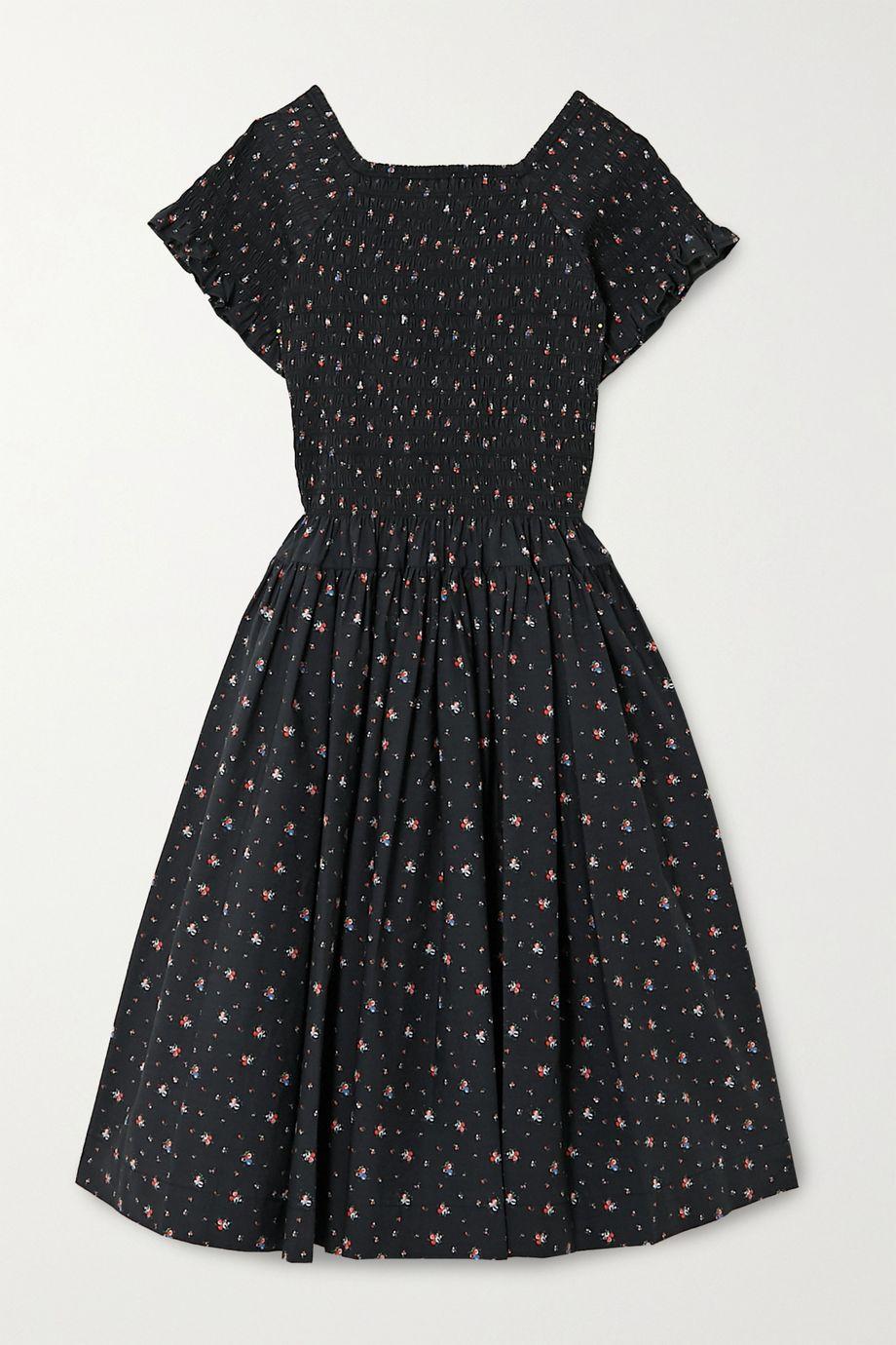 Molly Goddard Tilly shirred pleated floral-print cotton-poplin midi dress