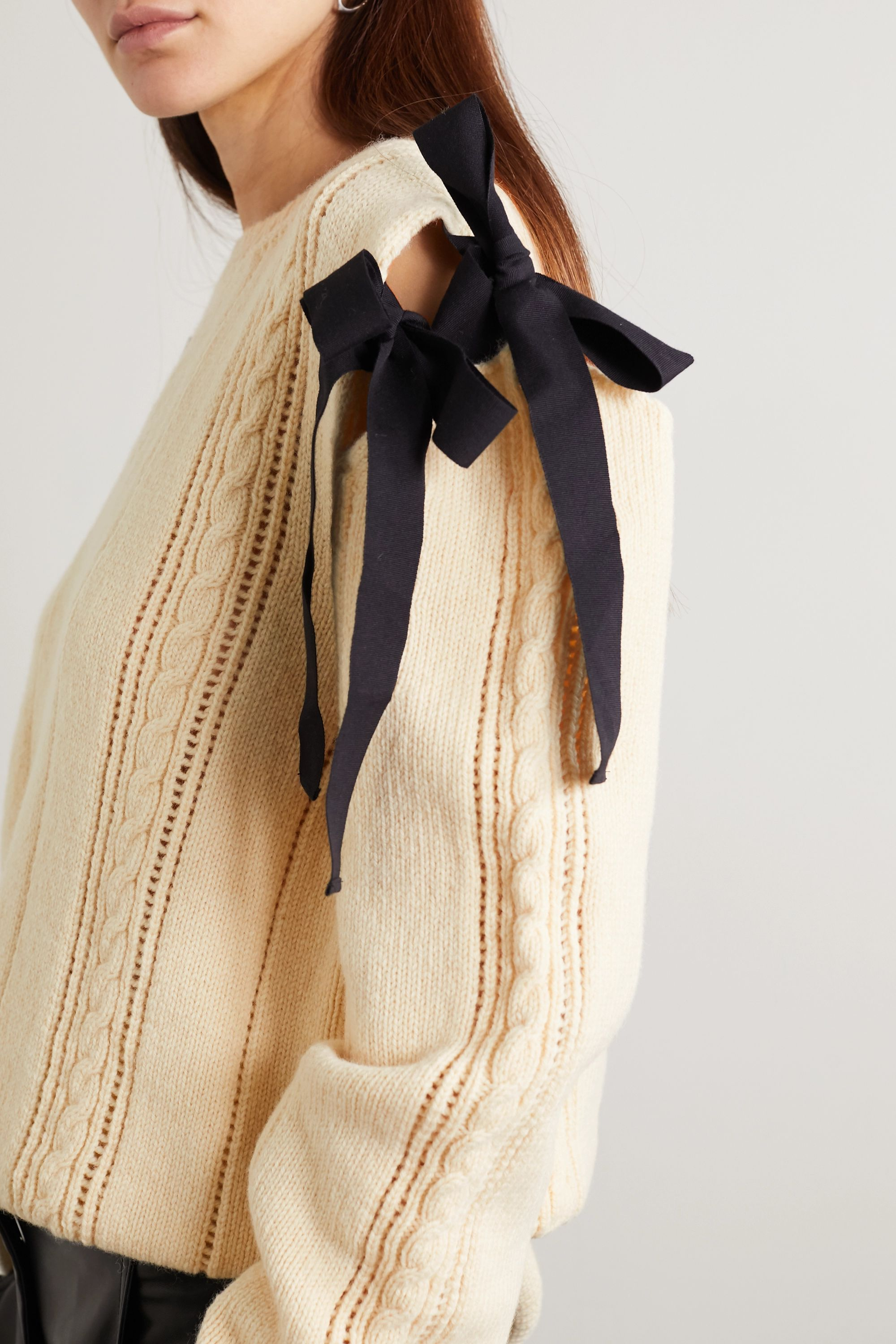 Molly Goddard Blanche tie-detailed cable-knit wool sweater