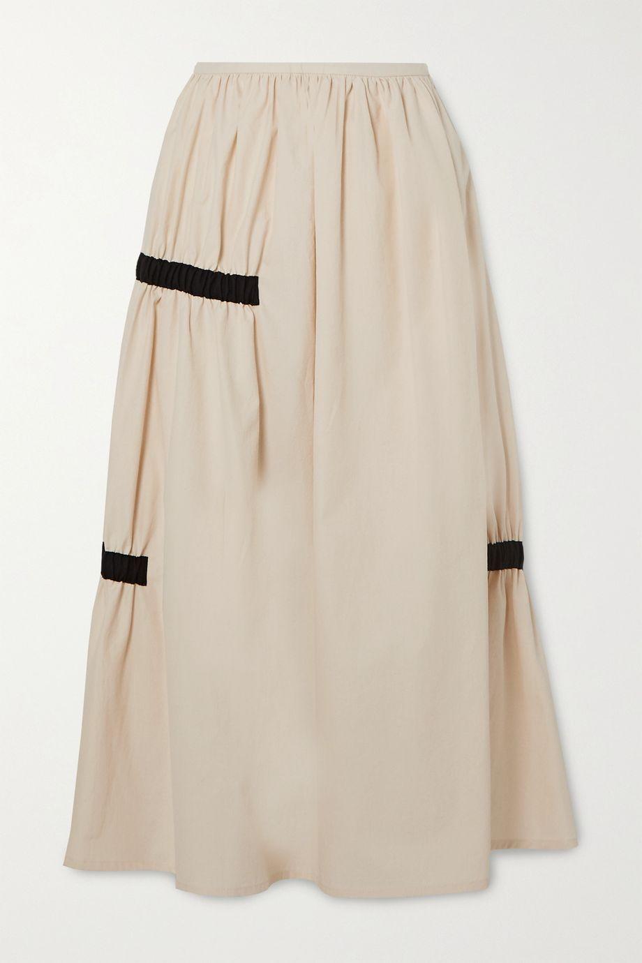 Molly Goddard Grosgrain-trimmed gathered cotton midi skirt