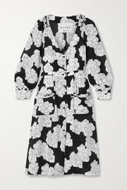 DYVNA Floral-print silk crepe de chine dress