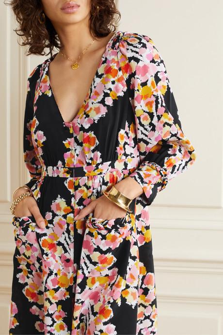 Floral-print silk-crepe dress