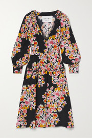 DYVNA Floral-print silk-crepe dress