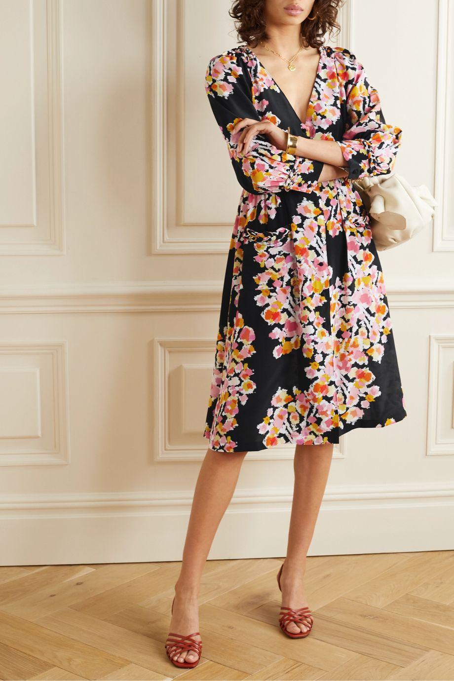 DYVNA Floral-print silk-crepe dress