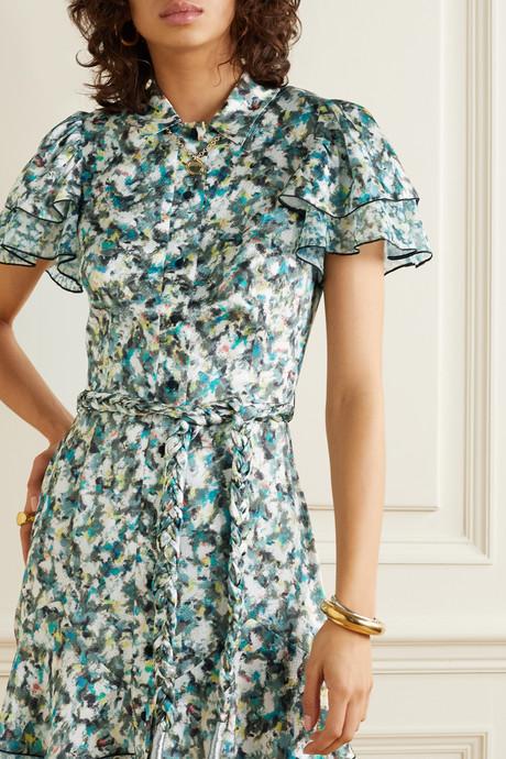 Belted printed chiffon-trimmed hammered silk-satin mini dress