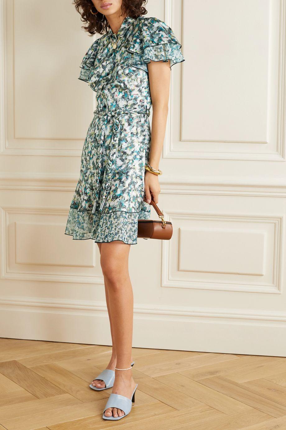 DYVNA Belted printed chiffon-trimmed hammered silk-satin mini dress