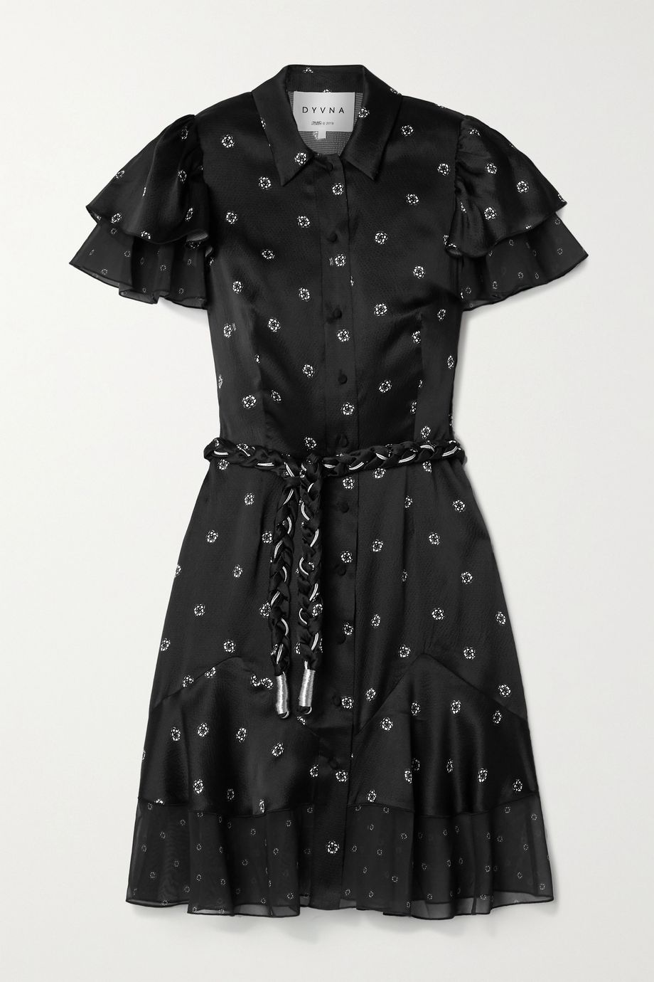 DYVNA Floral-print chiffon-trimmed hammered silk-satin dress
